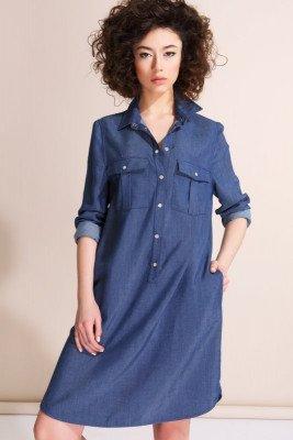 Джинсовое платье-рубашка Novaline